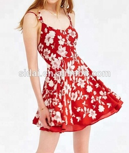 hot summer print strap chinese baroque floral print women backless dress