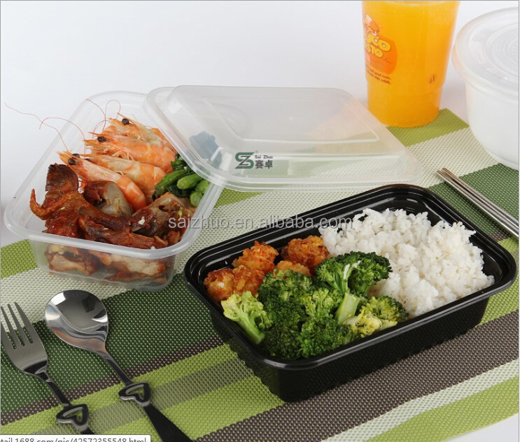 BPA free FDA approval PP clear and black disposable oven safe food container to worldwide market