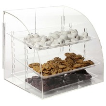 Countertop Acrylic Bakery Display Case, Pastry Donut Display Case with Hinged Doors and 3 Removable Trays