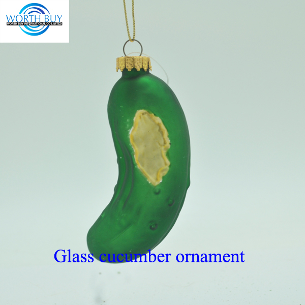 Artificial vegetable hanging glass cucumber ornament unique items sell for Christmas decoration