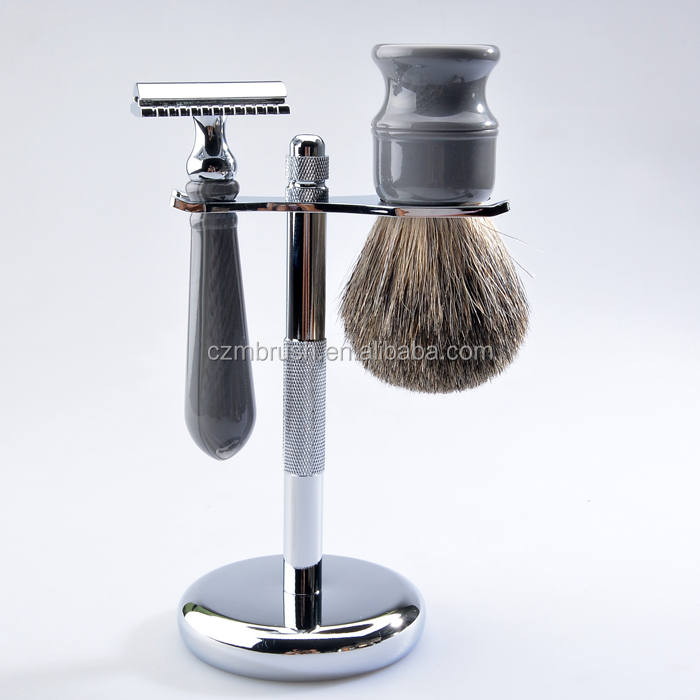 Newest selling resin handle super badger hair shaving brush set with double edge safety razor set