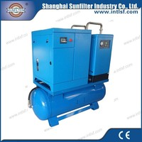 Air cooling oil injected combined air compressor with dryer and tank