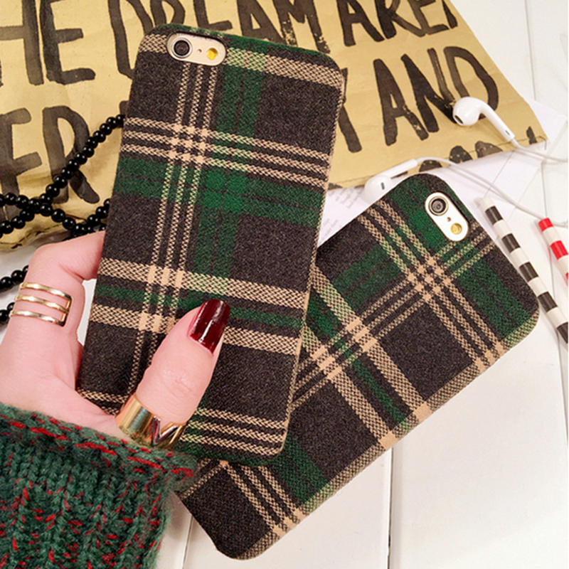 Newest simple style tartan fabric phone case with good price for iphone 6 6s plus 7plus