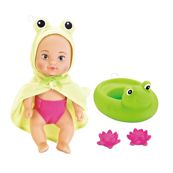 Lovely 10inch vinyl baby doll with inflatable floating frog