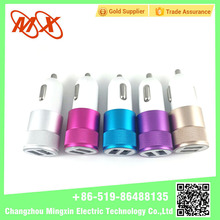 USB Dual Port 2.4A Universal Car Charger Covered By ABS+ Metal coat Designed for Charging Phones and Tablets