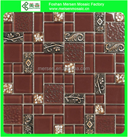 China Manufacturer Sales Ice Crack mix Glass Mosaic Tile for Kitchen Wall MK0610