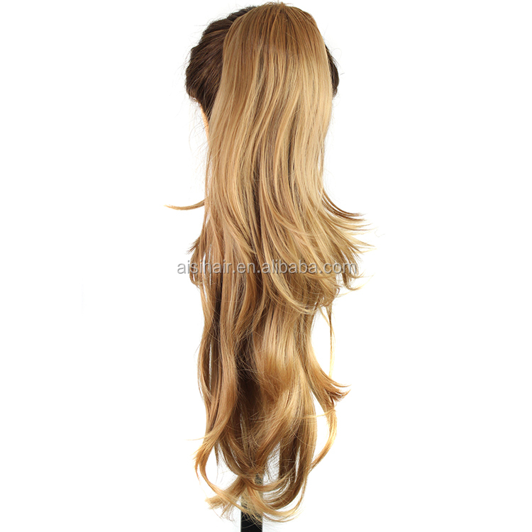 Hot sell synthetic ponytail hairpieces Long Curly wave Gold brown hair fake hair ponytails
