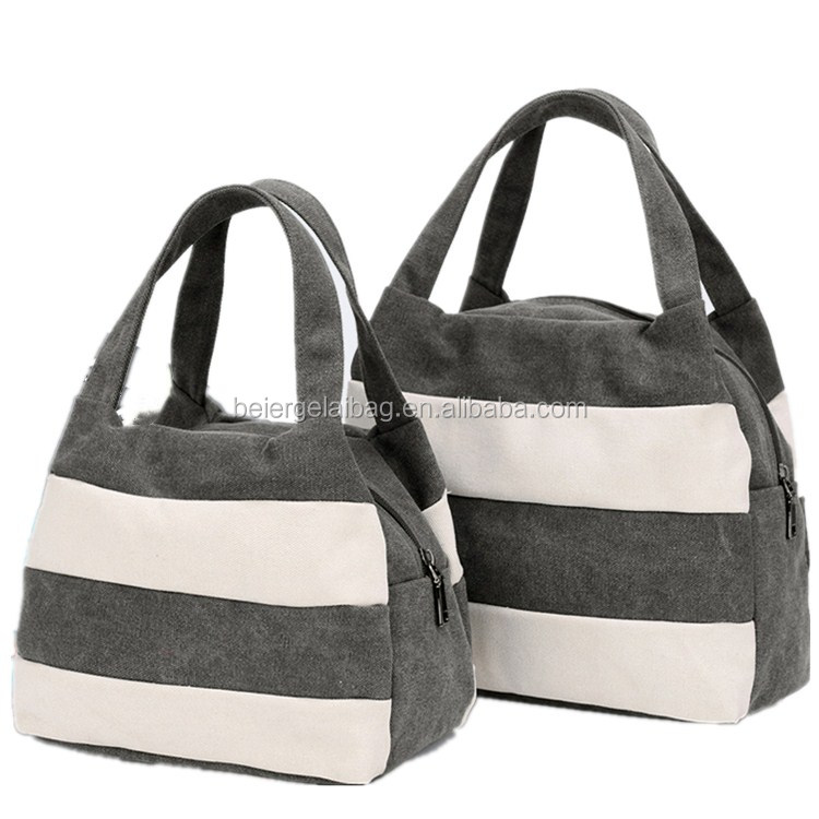 Handled Style women hotsale party purse bag cotton canvas shoulder bags stripe canvas beach tote bag