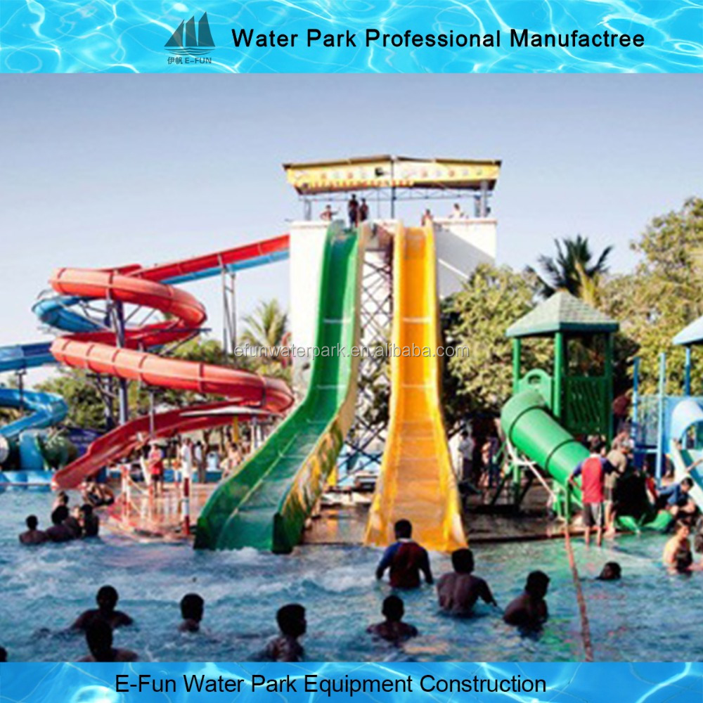 Factory Combination Fiberglass Water Slides for Swimming Pool Outdoor Hotel