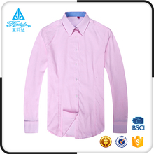 Fashional designed stylish elegant pink formal yarn dyed fit shirts wholesale for woman