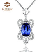 Charming Tanzanite Pendant,New Design Custhion Tanzanite Diamond Pendant Made In China WP068