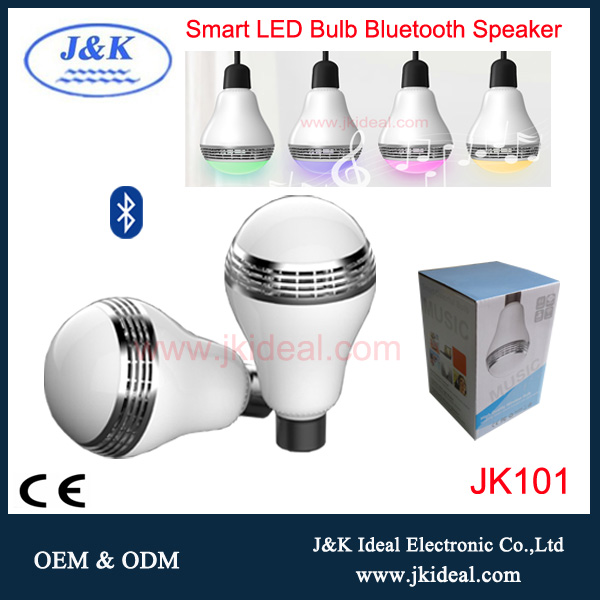 JK101 High quality music bluetooth led mp3 e27 with bulb speaker