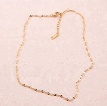 Minimalist Women Jewelry Dainty Thin Stainless Steel 14k Gold Plated Chain Necklace