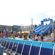 PVC 0.9MM rectangular metal frame pool /Above Ground Swimming Pool/outdoor metal swimming pool With slide
