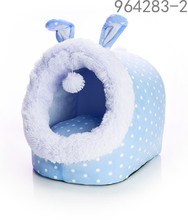 bunny basket design dot printing blue and pink color pet bed with cushion