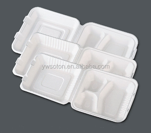 bagasse clamshell/biodegradeble clamshell/disposable Sugarcane pulp biodegradable container