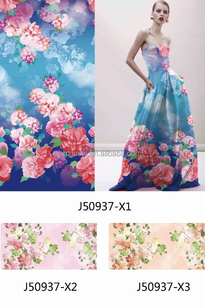 printing oganza fabric for spirnng women dress stocklot poly chiffon printing fabric