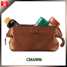 High Quality Soft Leather travel wash bag toilet bag mens leather wash bag for wholesale