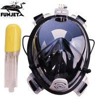 FUNJET Anti Fog Full Face Snorkeling Mask Diving Snorkel 2 In 1 For Gopro 180 Degree Dry Easy Free Breath Dive Gear Tube