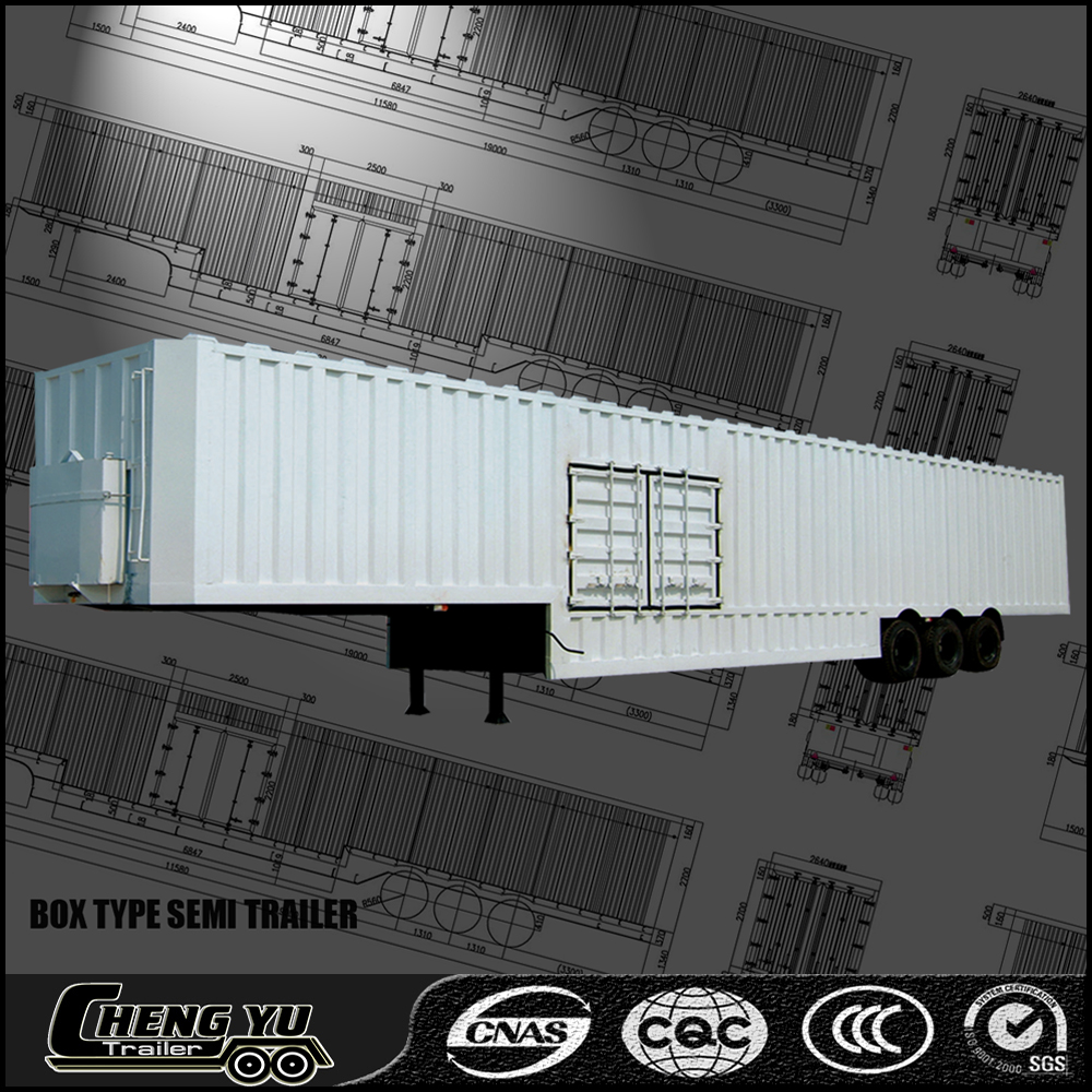 Semi trailer box type bulk cargo transport box semi truck trailer