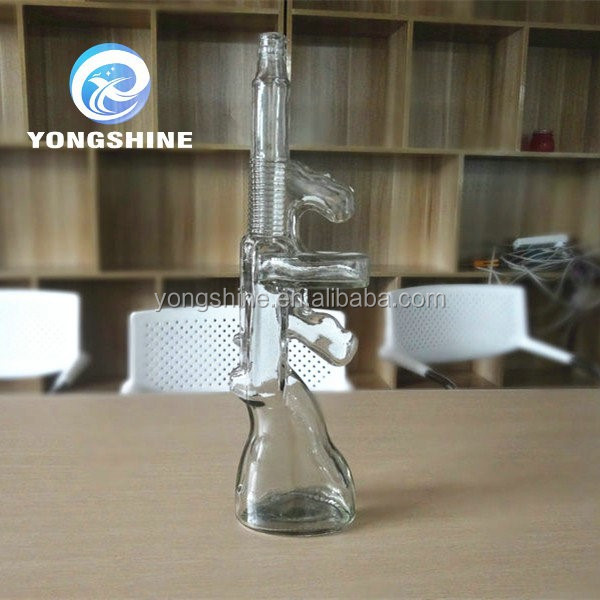 AK 47 machine gun shaped glass bottles factory price