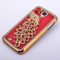 Luxury Manmade Hard Phone Case 3D Bling Rhinestone Peacock Case Cover for Samsung s4