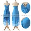 Sexy Strapless V-Neck Party Dress Lace-up Hi-Lo Chiffon Blue Sleeveless Cocktail Dress