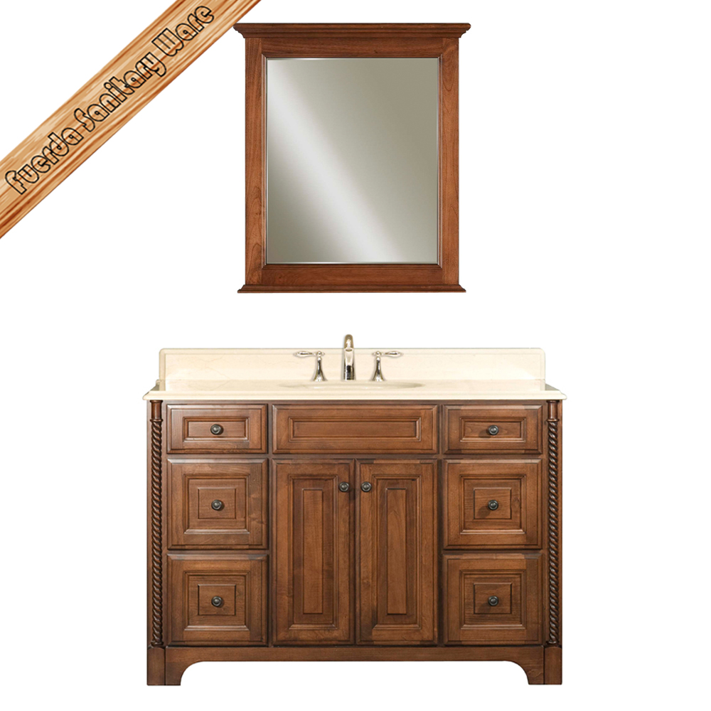 Single sink oak wood classical waterproof bathroom vanity for Waterproof bathroom cabinets