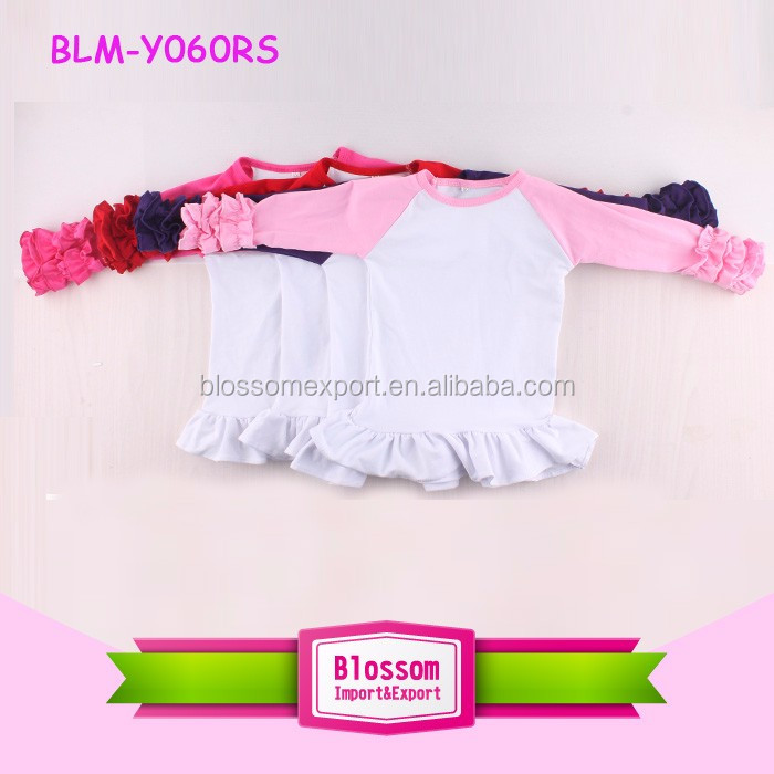 Wholesale fall baby girls cheap ruffle raglan shirt icing ruffle raglan sleeve t shirt
