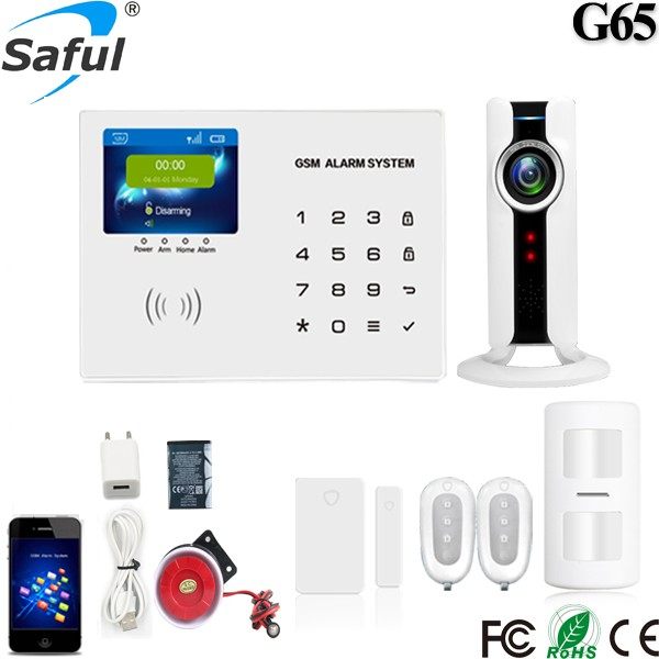 Saful G65night vision CCTV camera WiFi socket Wireless gsm burglar home alarm security system with APP