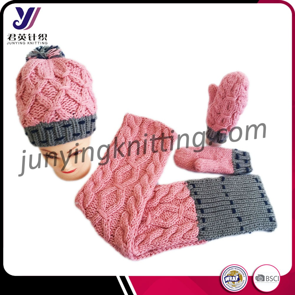 Pink acrylic womens scarf and gloves set