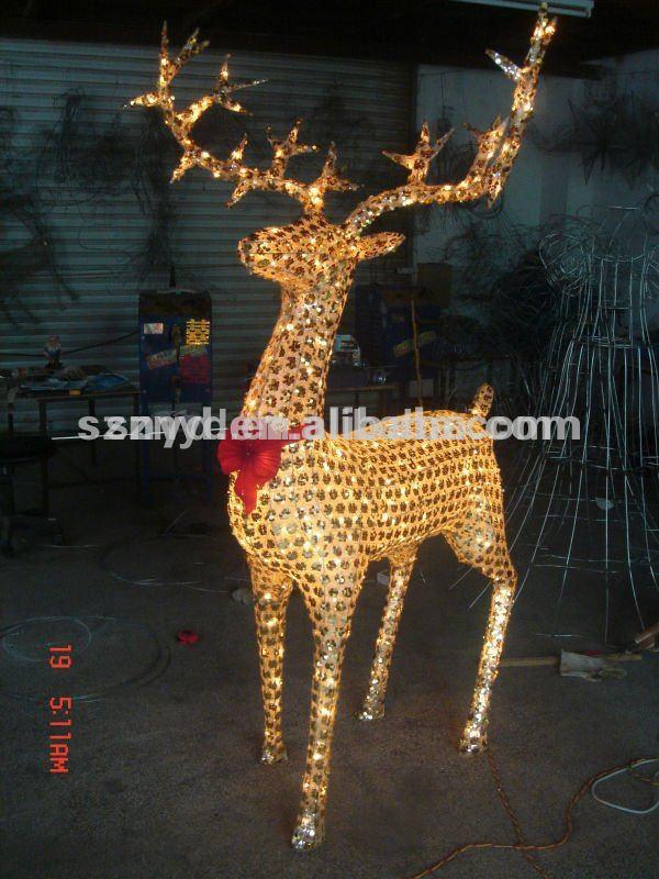 2014 decoraciones de navidad ciervos hecho de alambre lentejuelas y luces led suministros de - Decoracion de navidad 2014 ...