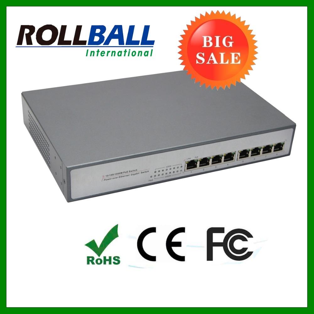 Nice price 8 port gigabit POE switch for IP camera 15.4w power supply max distance 100m