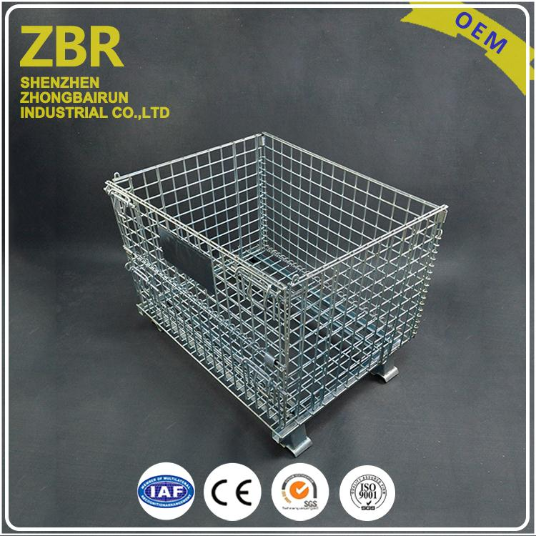 Easy Safety Portable Folding Steel Stackable Wire Mesh Cargo Storage Cage
