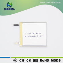 Professional supplier 414551 950mAh 3.7v lipo battery LiCoO2 rechargeable cheap battery