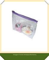 Purple zipper PVC packaging bag