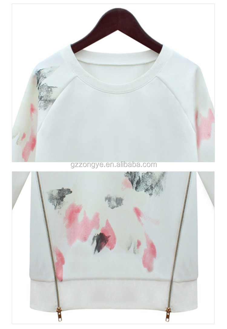 High quality fashion casual long-sleeved floral printed top women blouse