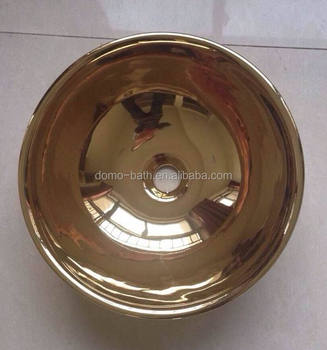 DOMO ceramic sink gold polished