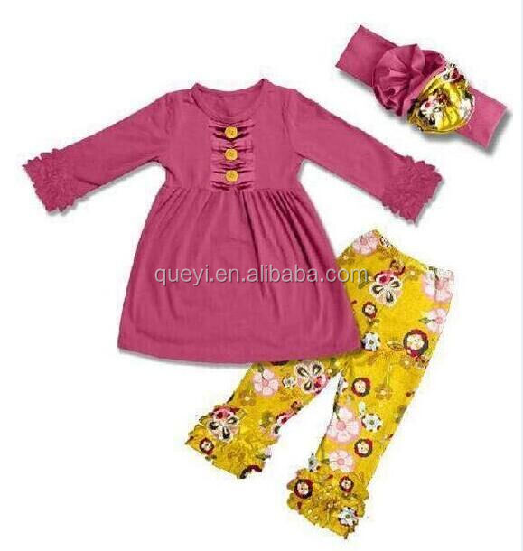 Boutique fall outfit girl clothing set west kids outfit baby clothes remake baby outfit with headband