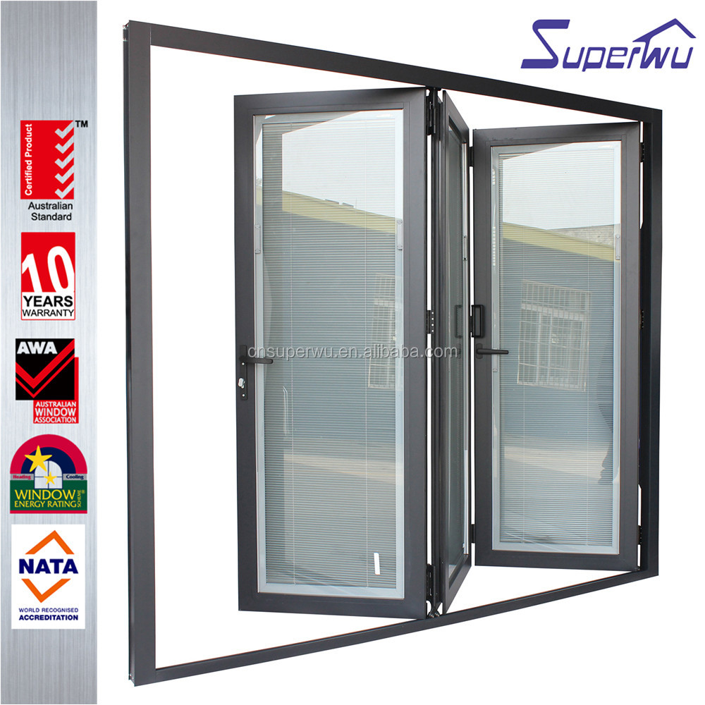 Alibaba china alumiuium soundproof bifold doors residential with venetian blinds