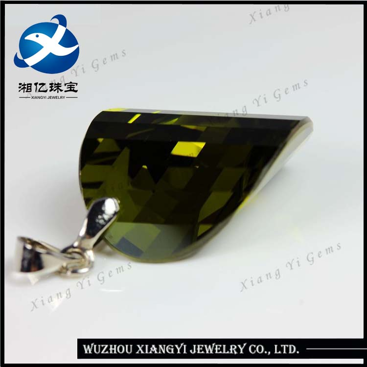 Olive Green Ingot Shape Large Size Synthetic Drilled Cubic Zirconia CZ Diamond