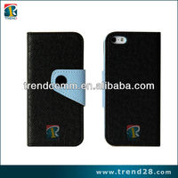 oem hot selling wallet case 2 tone color leather case for iphone 5