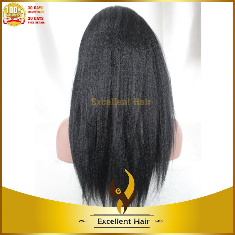 100% long kinky straight unprocessed 5a grade indian virgin full lace wig