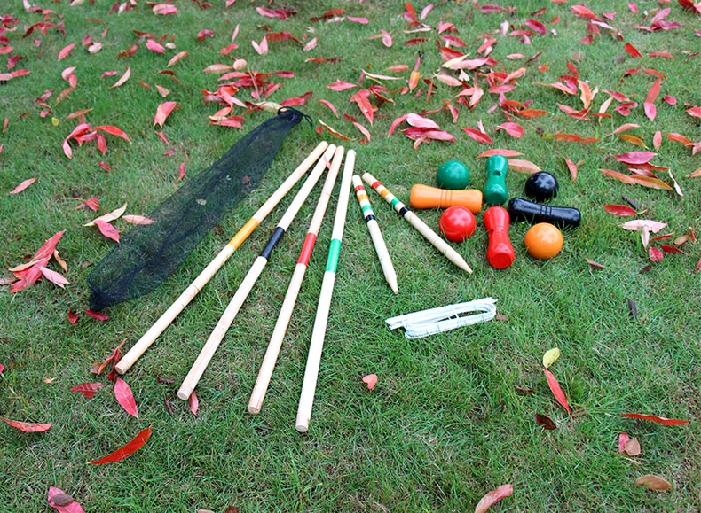 2017 best sale wooden halex classic 4 player croquet set