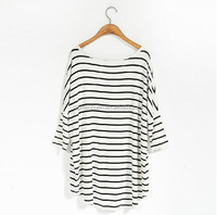 OEM service simple stripe printed jersey fashion women basic t shirt