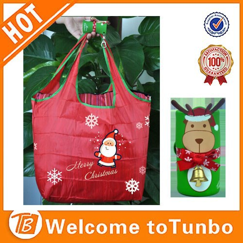 Red shopper reindeer synthetic rubber pocket ripstop polyester folding shopping bag
