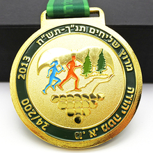 Manufacturer custom made metal award running gold medals with ribbon