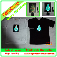 Luminous Christmas Tree Shirt Sound Active T-shirt Flashing Dress Performance EL T-shirt EF139