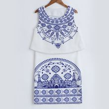 Blue and White Porcelain Pattern Sleeveless Two Piece Bodycon Dress