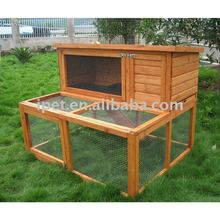 4FT Outdoor 2 Tire Wooden Rabbit Cage With Plastic Tray Large Run